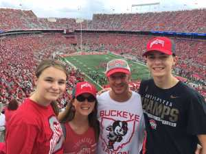 Matthew (current FF) attended Ohio State Buckeyes Football vs. Cincinnati Bearcats - NCAA Football on Sep 7th 2019 via VetTix
