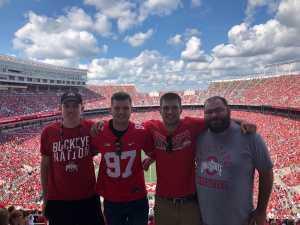 Josh attended Ohio State Buckeyes Football vs. Cincinnati Bearcats - NCAA Football on Sep 7th 2019 via VetTix