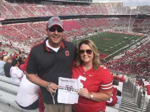 The Wrights  attended Ohio State Buckeyes Football vs. Cincinnati Bearcats - NCAA Football on Sep 7th 2019 via VetTix
