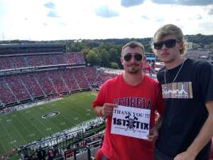 Elizabeth attended University of Georgia Bulldogs vs. University of Alabama at Birmingham Blazers - NCAA Football on Sep 11th 2021 via VetTix